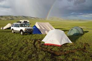Rainbow came out after a short but strong hailstorm, North Mongolia.
